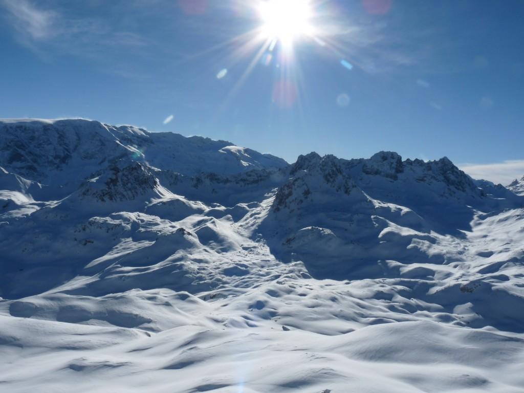 Glaciers de la vanoise, l'Aiguille du rateau et l'Aiguille de Chanrouge depuis le Pas du Roc Merlet
